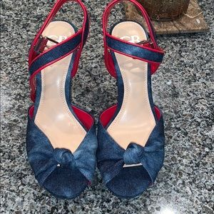 Denim and red block heel sandals with silver studs